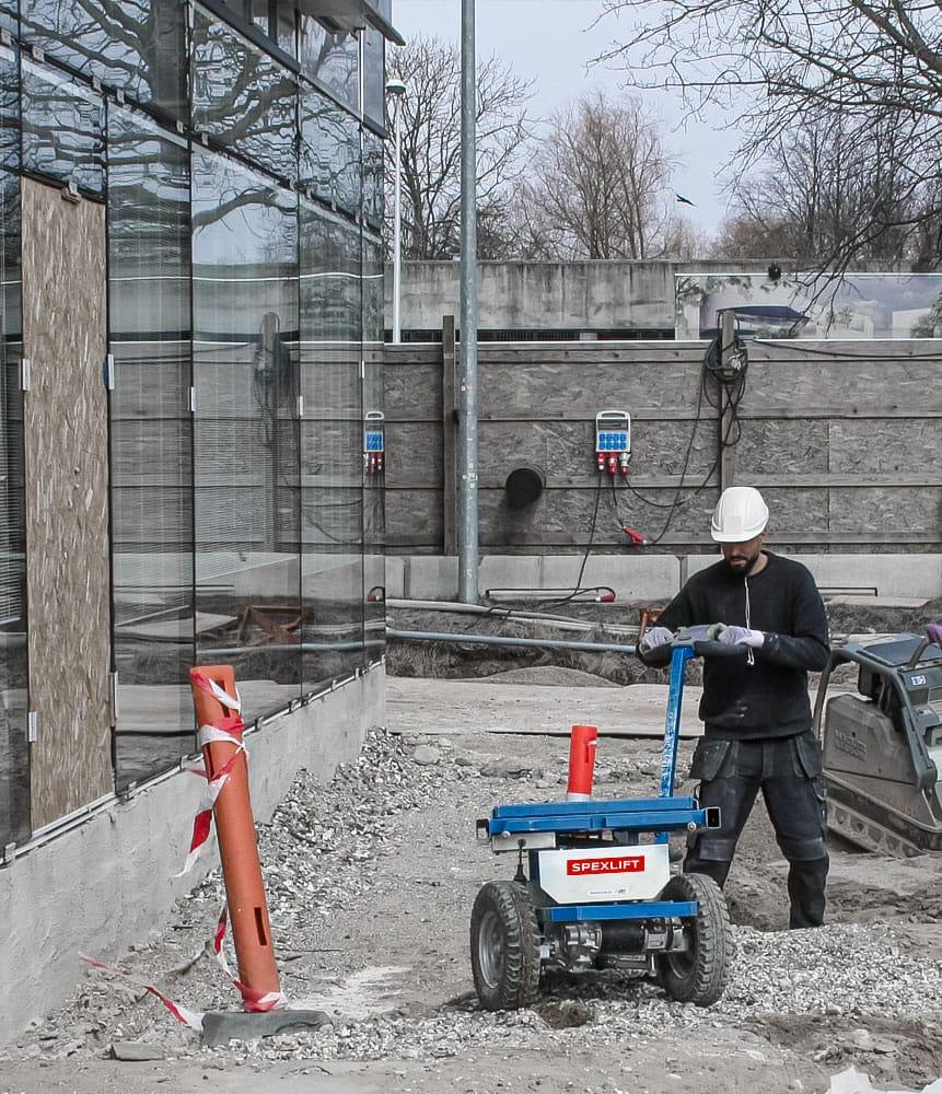Elektrischer Transportwagen ErgoMover Lift&Go für Baustelleneinsatz mieten und kaufen Spexlift