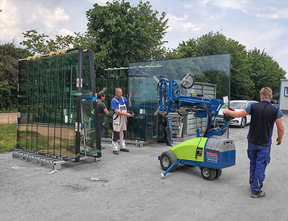 Glaslifter 600kg Glas Seitliche Beladung und Transport / Glaslifter mieten