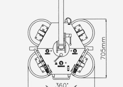 Abmessungen Glassauger DSKZ2 mit 4 Saugtellern