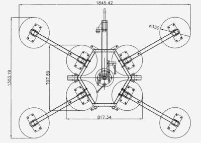 Abmessungen Glassauger DSKZ2 mit 8 Saugtellern 600 kg